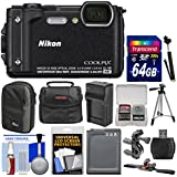 Nikon Coolpix W300 4K Wi-Fi Shock & Waterproof Digital Camera (Black) with 64GB Card + (2) Cases + Battery & Charger + Tripod + Handlebar & Helmet Mounts + Kit