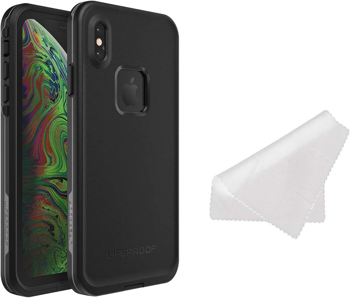 LifeProof FRE Series Waterproof Case for iPhone Xs Max (ONLY) with Cleaning Cloth - Retail Packaging - Asphalt (Black/Dark Grey)