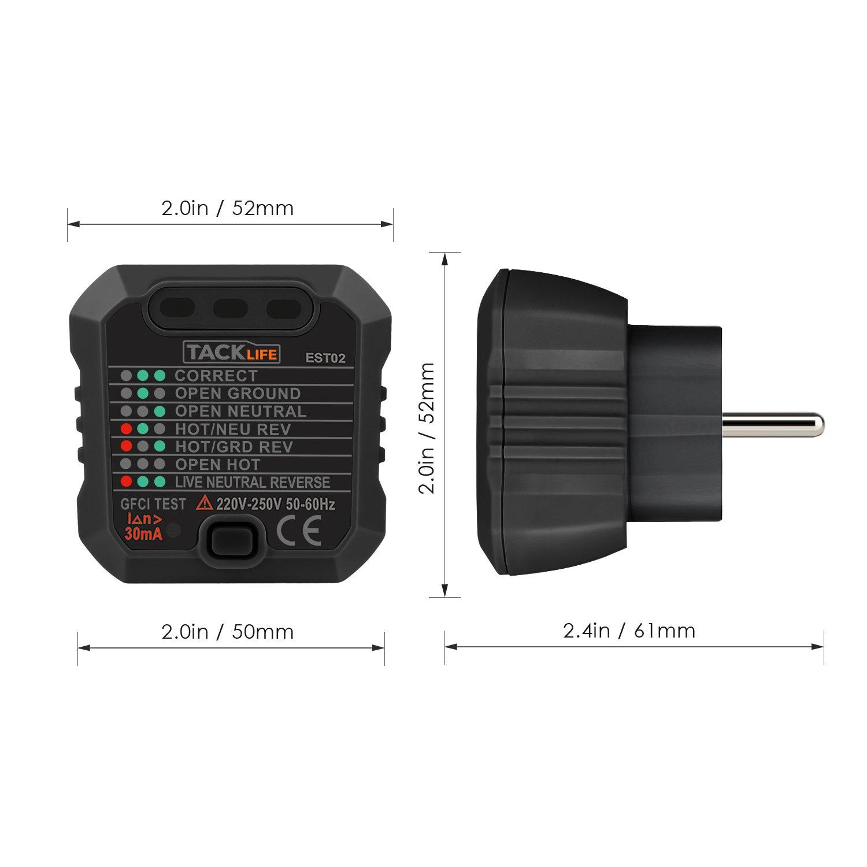 Tacklife -EST02 Advanced Steckdosen Tester Automatischer Stromkreis ...