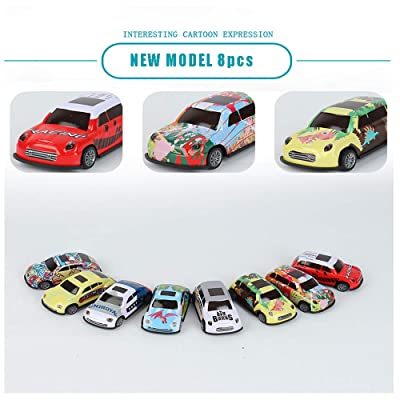 JCC Worker 8 Pack Kid Mini Cars Toys Children Inertia Pull Back Vehicle Toy Pull Back Vehicles for Toddlers & Kids - Friction Powered Car Set: Toys & Games