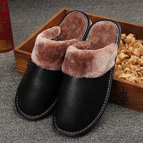 Fankou pantofole inverno scarpe di cotone di rimanere caldo scarpe uomini e donne paio di spessore della camera non-slip ,35-36, in rosso