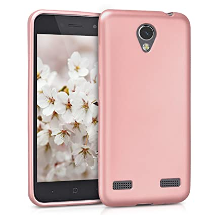 kwmobile TPU Silicone Case for ZTE Blade A520 - Soft Flexible Shock Absorbent Protective Phone Cover - Metallic Rose Gold