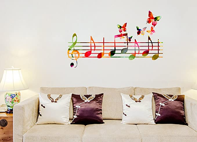 Decals Design 'Musical Notes Colourful with Butterflies Flying' Wall Sticker (PVC Vinyl, 70 cm x 50 cm), Multicolour Wall Stickers at amazon