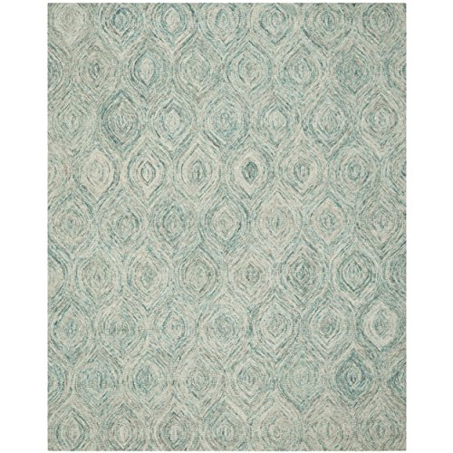 Safavieh Ikat Collection IKT631A Handmade Ivory and Sea Blue Premium Wool Area Rug (8' x 10') by Safavieh