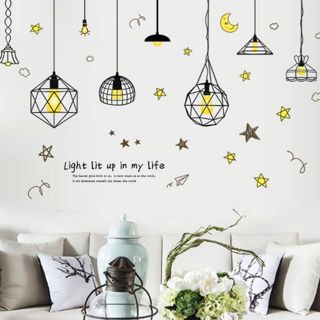 Acoolstore The Original Color Light Mini Plug-in Chandelier,Five-Pointed Star Wire Moon Chandelier Wall Stickers