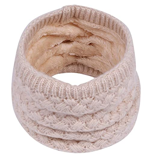 Voberry@ Autumn Winter Boy Girl Baby Scarf Chunky Neck Warmer Neckerchief Infinity Scarves (Beige
