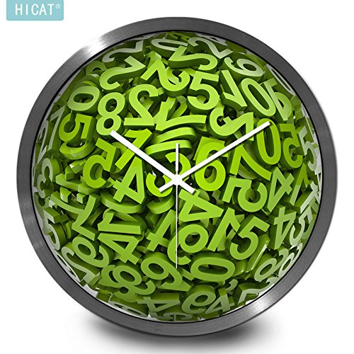 Price comparison product image BYLE Wall Clock Quartz Mute Non-Ticking Silent Kitchen Battery Creative Stylish 3D Green Digital Wall-Mounted Electronic Quartz Large,  12 Inch, W202 Stereo Font White-Silver Metal Box