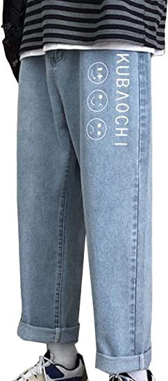 (BaLuoTe)ジーンズ メンズ デニムパンツ 秋 冬 メンズ ジーンズ ストレート ゆったり ワイドパンツ メンズ ロングパンツ プリント 薄手 9分丈 パンツ カジュアル ファション シンプル