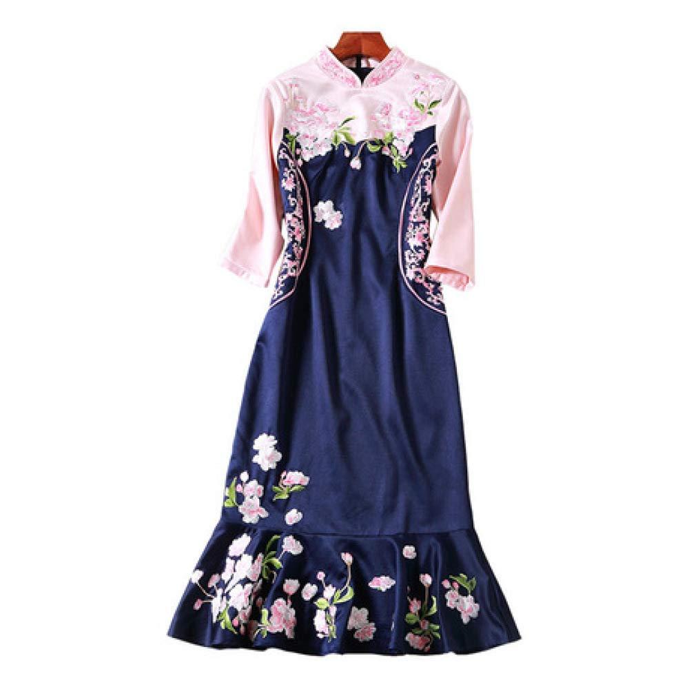 ZENWEN Slim Slim Bag Hip Fishtail Skirt Spring New Embroidered Embroidered Cheongsam Temperament Dress