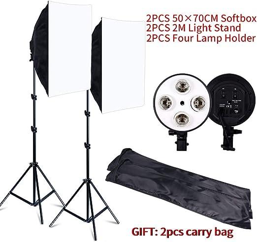 MDFGHJD Fotografía Softbox Lightbox Kit 8 PCS Estudio fotográfico LED Cámara Equipo de iluminación 2 Softbox 2 Soporte de luz con Bolsa de Transporte: Amazon.es: Hogar
