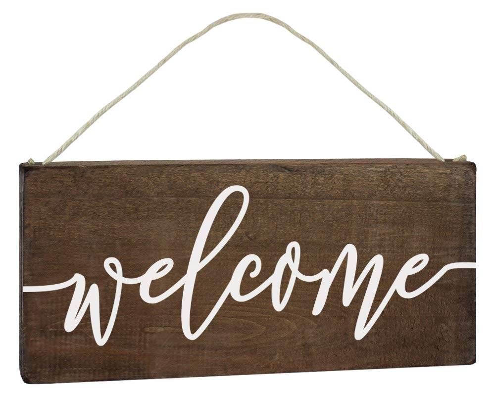 Elegant Signs Welcome Sign - Front Door Decor - Outdoor 6x12 Rustic Hanging Wood Farmhouse Porch Decorations for Home