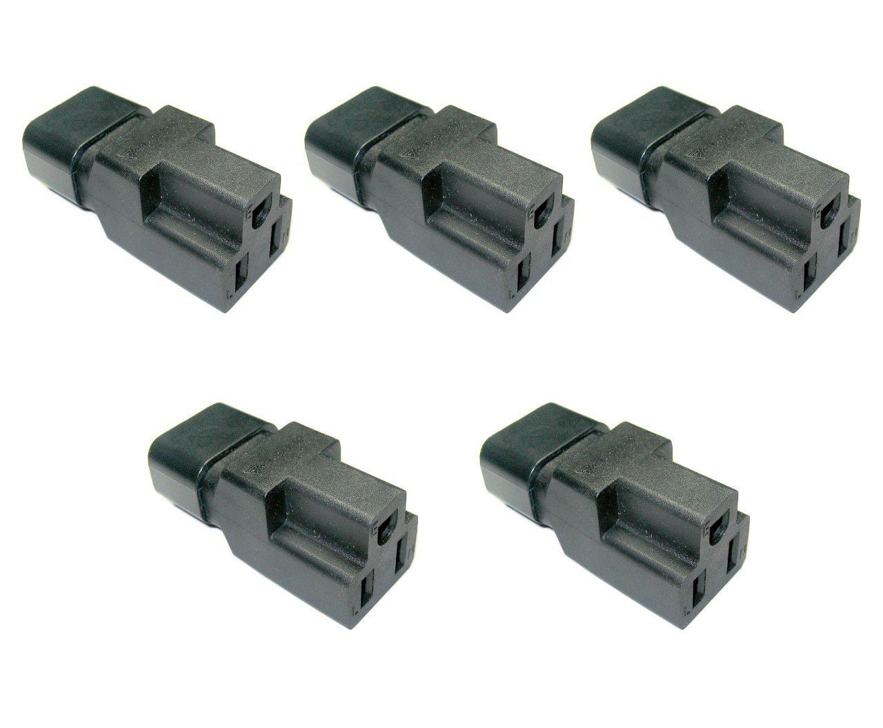 Conntek 5-30130 IEC C14 to NEMA 5-15R Plug Adapter 10Amp, 5 Pack