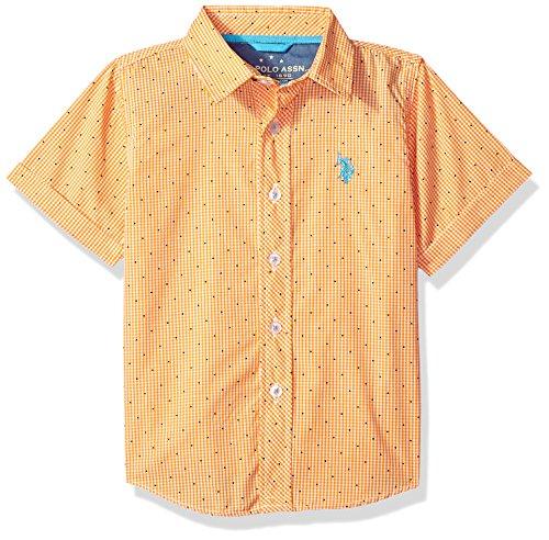 U.S. Polo Assn. Boys' Big Short Sleeve Plaid Sport Shirt, Check dots Warhol Orange, 18