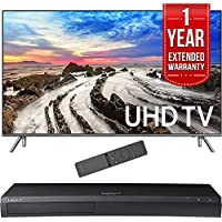 Samsung 55 4K Ultra HD Smart LED TV 2017 Model (UN55MU8000FXZA) with 1 Year Extended Warranty & Samsung 4K Ultra HD Blu-ray Player