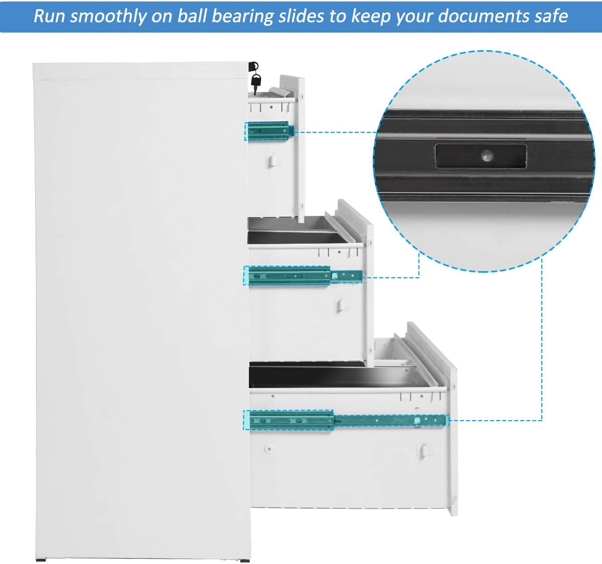 White DOONHEXS Stronger /& Thicken Metal Lateral File Cabinet with Lock Heavy Duty Steel Office Filing Cabinet Lockable Filing Cabinet with Anti-Tilt Structure More Durable File Cabinets 3 Drawer