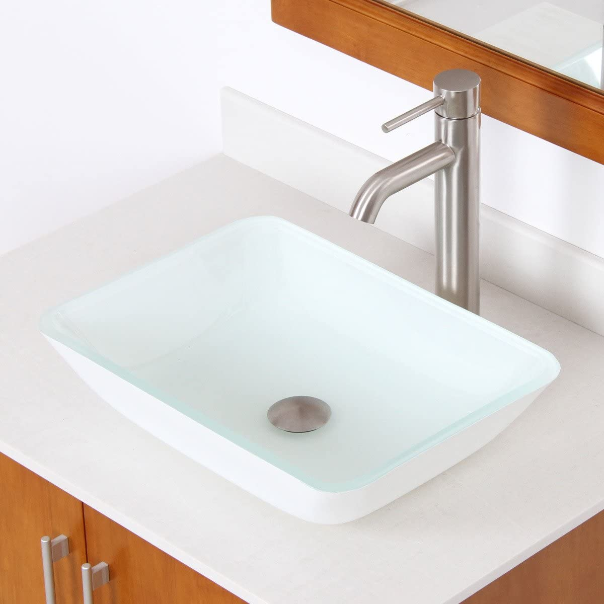 ELITE Tempered Rectangle Bathroom White Pattern Glass Vessel Sink Brushed Nickel Faucet Combo