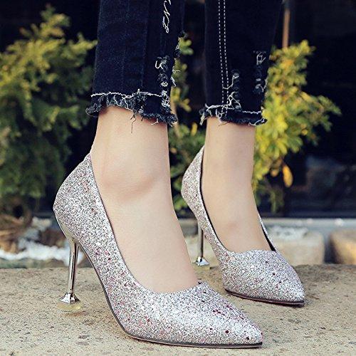 GAOLIM Banquete De Invierno Zapatos De Cristal Señaló Degradado Tacones Finos Con Solo Zapatos Zapatos De Mujer De Matrimonio. Silver