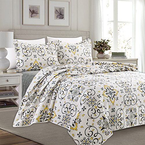 Home Fashion Designs 3-Piece Reversible Quilt Set with Shams. All-Season Bedspread with Floral Printed Pattern in Bright Colors. Collette Collection By Brand. (King, Multi) Bright Quilt