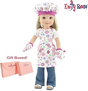 Emily Rose 14 Inch Doll Clothes for Wellie Wishers | Pink Floral Doll Baking Outfit with Apron, Oven Mitts and Chef Hat | Wellie Wisher Doll Clothes - Glitter Girls Doll Clothes | Gift-Boxed!