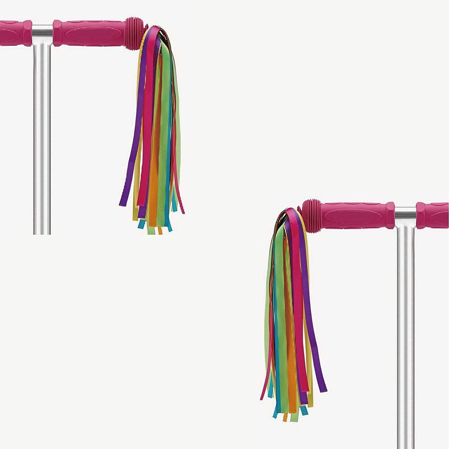 ABSOAR Cycling Colorful Bike Streamers Girls Kids Boys Bicycle Tassel Ribbon Handlebar Scooter Streamers 2 Pairs 18 Bands
