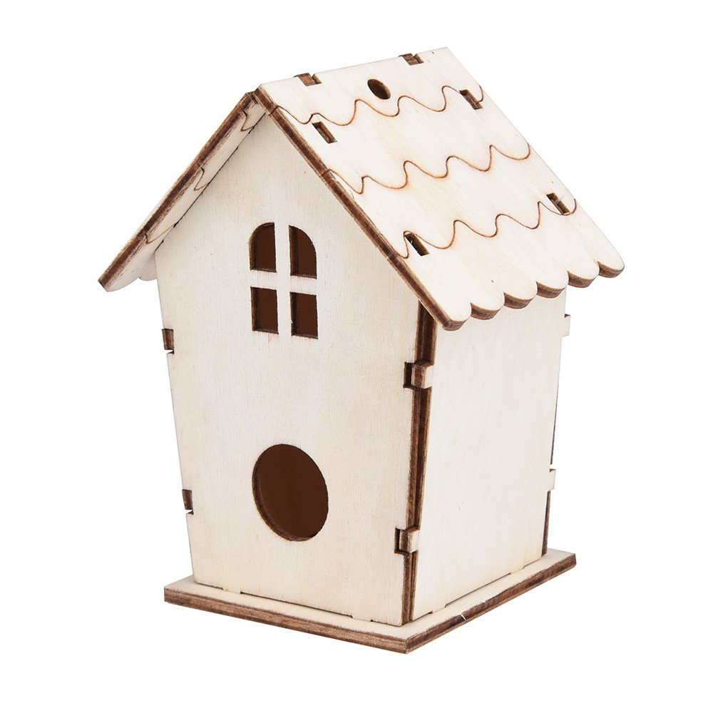 Keepwin Cage à Oiseaux en Bois, nid de Bricolage Niche Maison D'oiseaux Boîte à Oiseaux Suspendus nid d'oiseau Boîte à Oiseaux en Bois (10x9cm, Kaki)