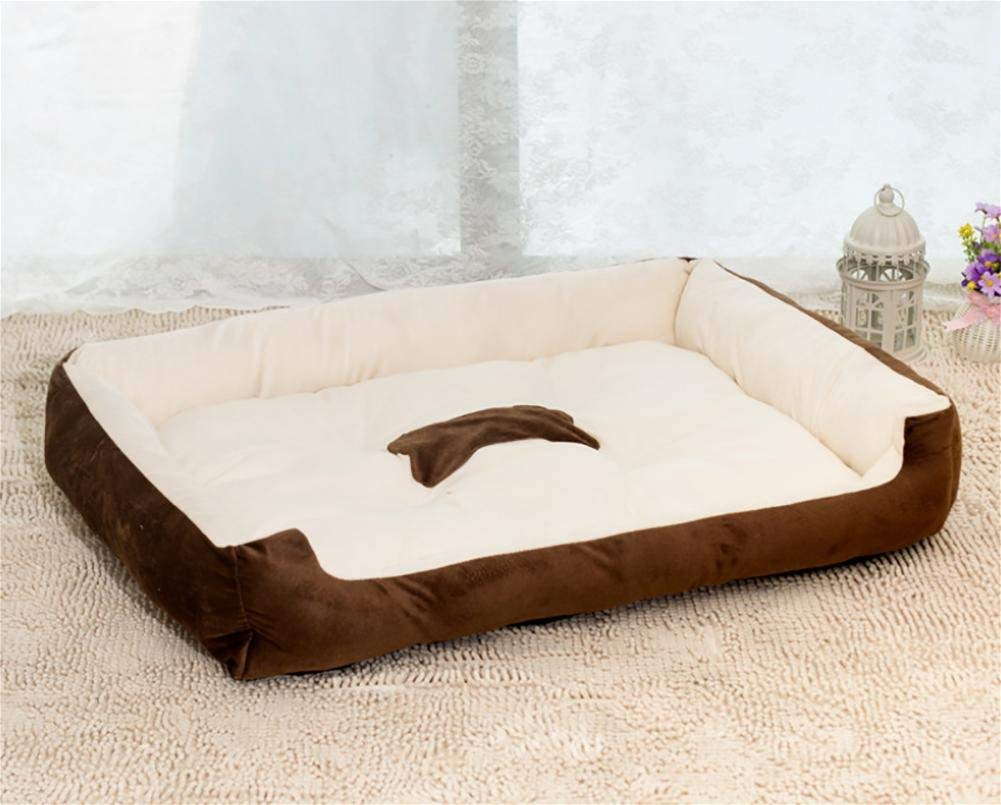 Brown Small Brown Small Gperw Easy-Clean Washable Dog Bed Rectangular Nest Pet Bed Non Slip Cushion Pad (color   Brown, Size   Small)