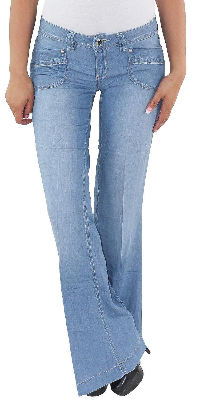 Damen Denim Schlaghose Bootcut Jeans Hose Jeanshose Hochbund