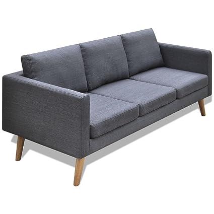 vidaXL Divano sofa divanetto in tessuto a 3posti grigio scuro arredo ...