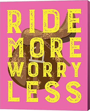 Amazon.com: Ride More Worry Less - Pink by Sports Mania Canvas Art ...