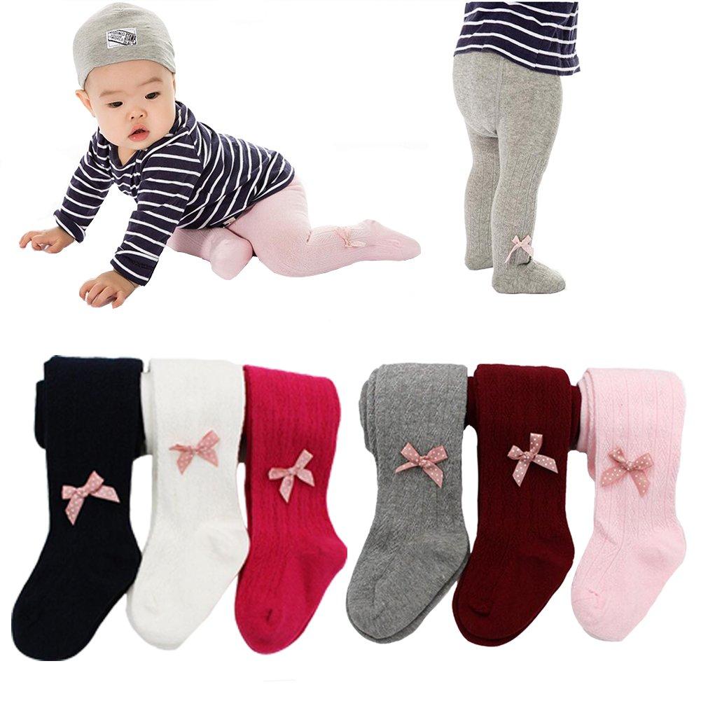 6 Pack of Baby Infant Toddler Kids Girl Bowknot Legging Pants Tights Stockings