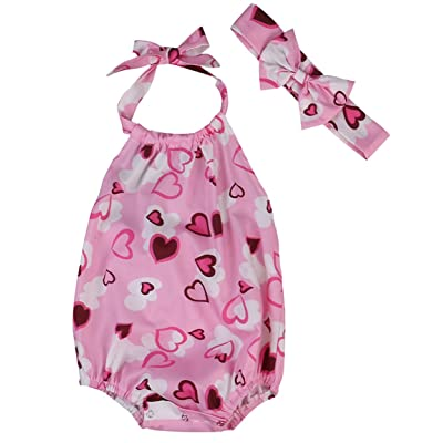 SAYOO Toddler Kids Girl Heart Printed Sleeveless Rompers Jumpsuit Pink Overalls + Headband Outfits