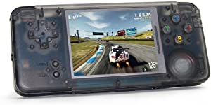 MJKJ Handheld Game Console , Retro Game Console Built-in 3000 Classic Game Console 3 Inch Screen Portable Video Game Console - Transparent Black