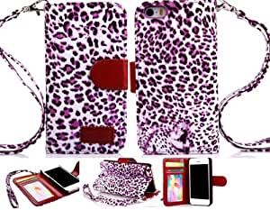 Thinkcase Strap Leopard Skin Wallet Flip Leather Pouch Stand Case Cover For iPhone 5 5g 5s t08