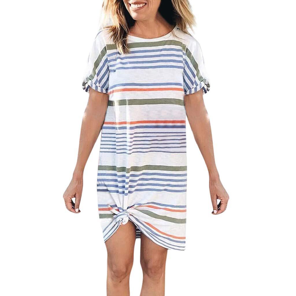 a9ce586924 TANGSen Women Casual O-Neck Short Sleeve Dress Irregular Striped Printed  Loose Summer Fashion Mini Dress at Amazon Women s Clothing store