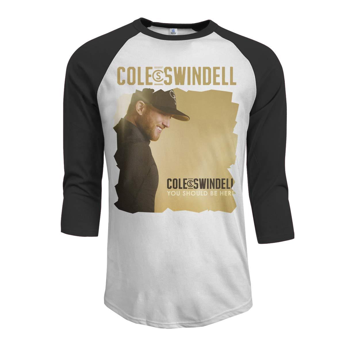 JeremiahR Cole Swindell You Should Be Here Mens 3//4 Sleeve Raglan Baseball Tee Black