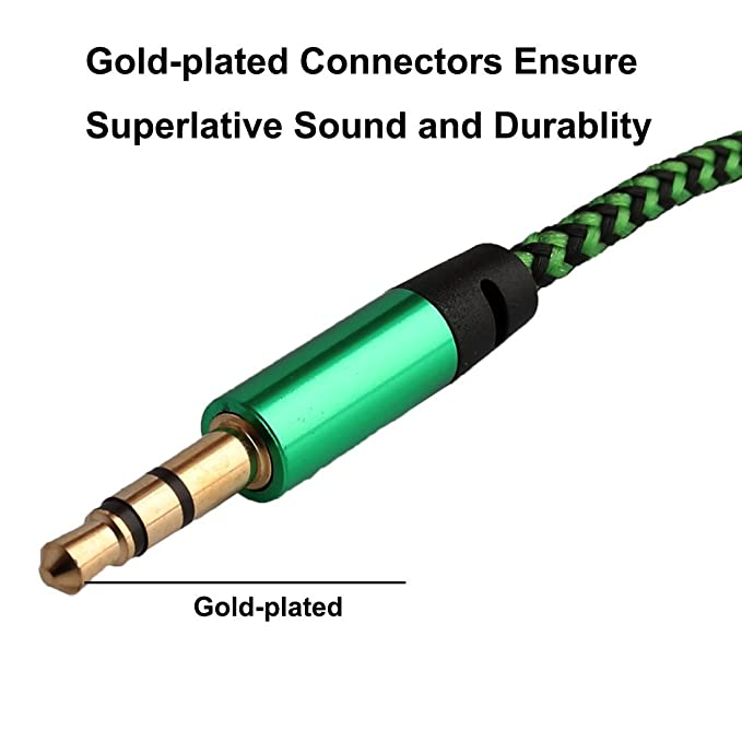 Amazon.com: eDealMax Nylon Car Stereos cuerda trenzada Macho a Macho de extensión de Audio Cable conector DE 3,5 mm Diámetro 1 M Long Green: Electronics
