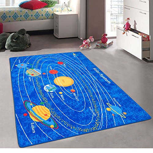 Kids / Baby Room / Daycare / Classroom / Playroom Area Rug. Solar System. Educational. Non-Slip Gel Back. Play Mat. Bright Colorful Vibrant Colors (5 Feet X 7 Feet) by Champion Rugs