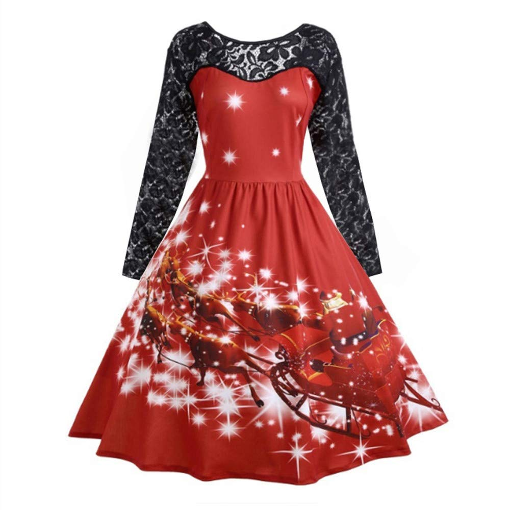 Christmas Dress Women, LILICAT Ladies Black Lace Patchwork Vintage Long Sleeve Snowflake Printing Dress Cocktail Flare Dresses