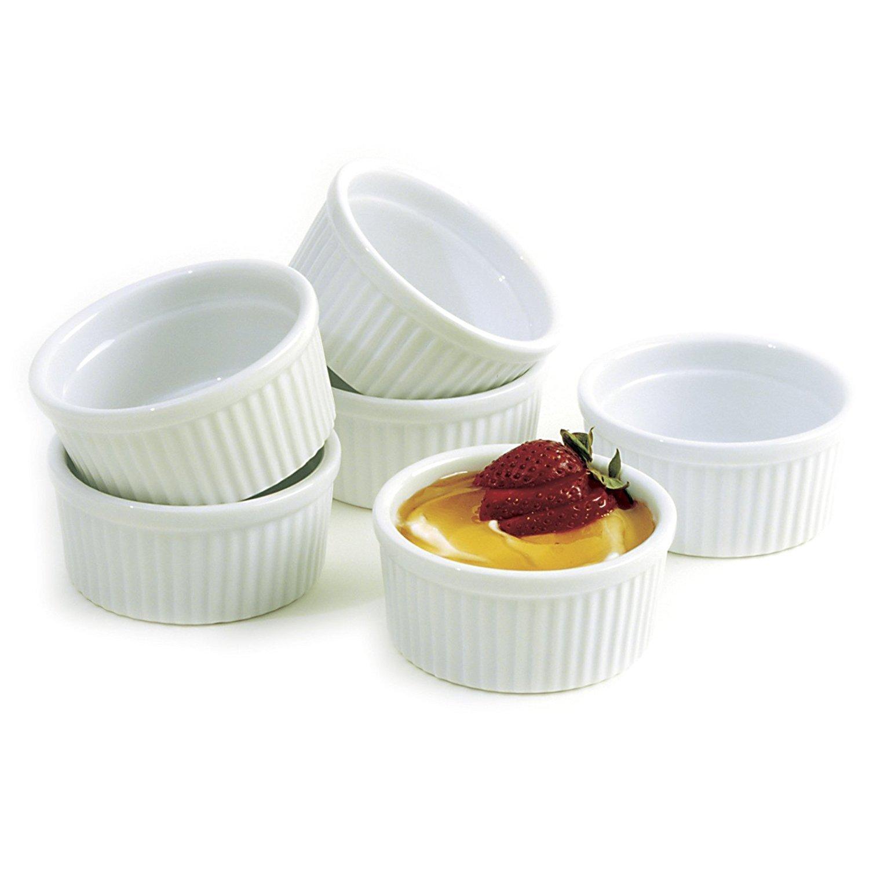 K Basix Moldes de Porcelana DE 4,5 onzas Blanca Souffle para Hornear Platos Creme Brulee con Leche Crema pastelera Tazas postres: Amazon.es: Hogar