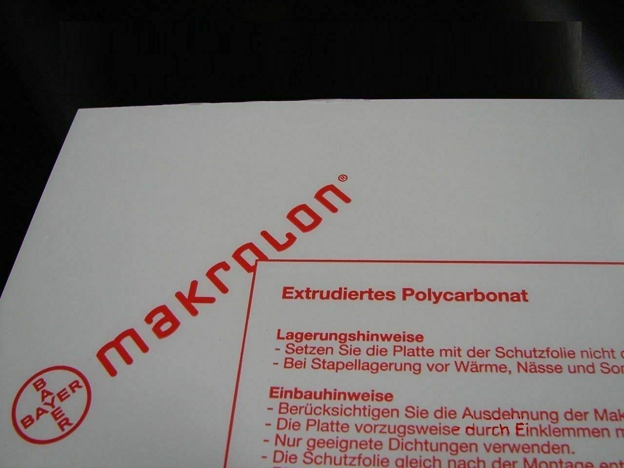 Placas de policarbonato Makrolon/® 1 mm, 1250 x 500 mm diferentes cortes transparente