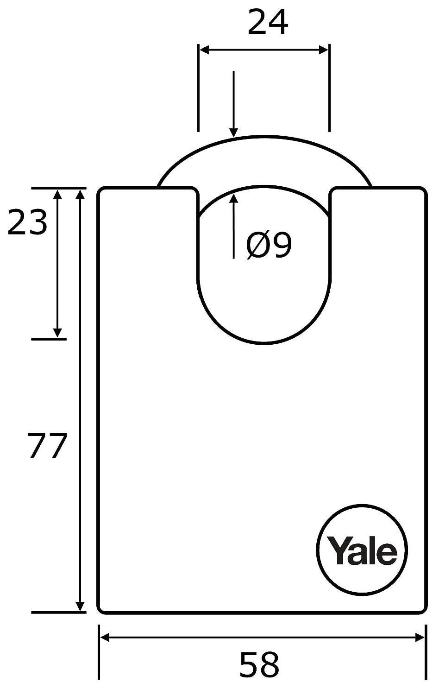Yale Locks YALY12150 Finition laiton 50 mm-D Cadenas /à anse ferm/ée