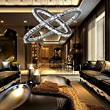 Crystal Chandelier ,TOPMAX Design 60cm Cut Crystal LED Pendant With Unique Two Rings,Ceiling Light Fixture