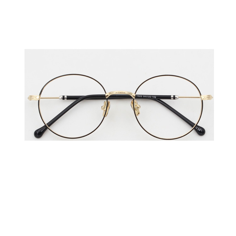 b4677cbfb13 Amazon.com  retro round frame glasses female models optical mirror new  manufacturers art flat mirror 1522