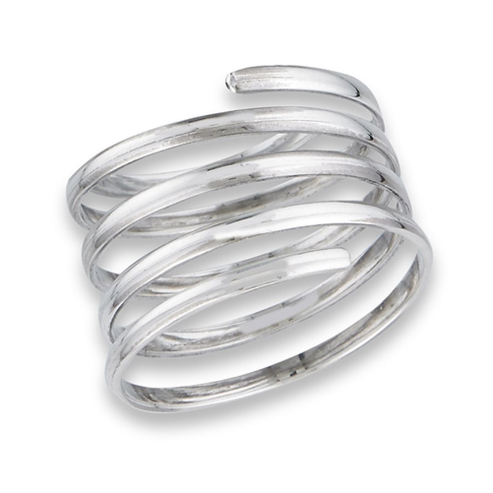 Open Spring Swirl Spiral Wide Flexible Ring .925 Sterling Silver Band Size 8