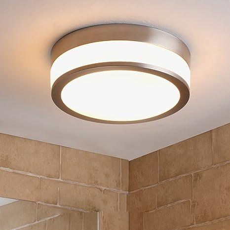 LED de baño de lámpara de techo níquel mate Moderno Baño ...