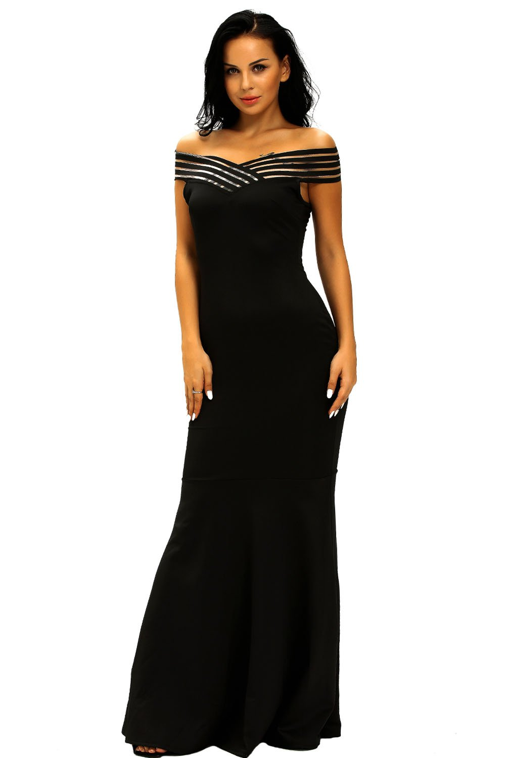 Prime Leader Black Off the Shoulder Sheer Stripe Fishtail Evening Gown For Women at Amazon Womens Clothing store: