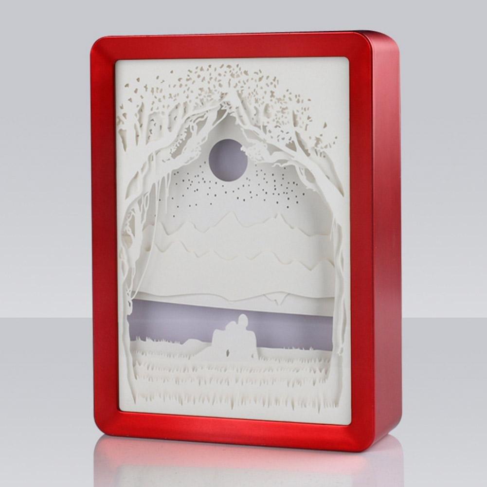 3D Night Lights Paper Carved Lights, AOKOALA ABS Frame Lamp/ Bedside Light, USB Decorative Lights for Lover , Red