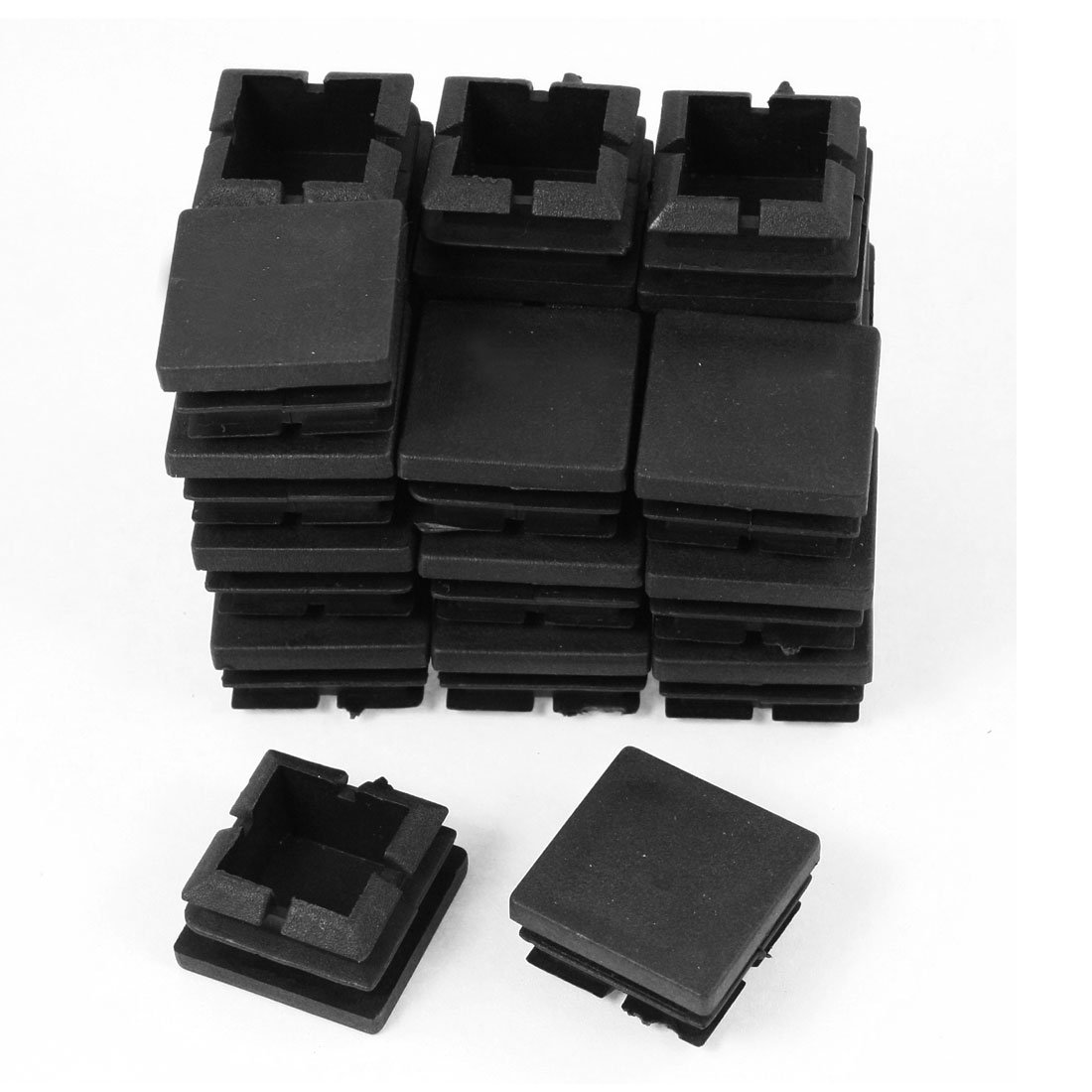 24 Pcs 25mm x 25mm Plastic Blanking End Caps Square Tube Insert Black a14091000ux0072