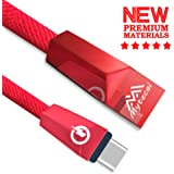 Type-c USB Fast Charging Cable 3FT Type C Cable Waterproof Phone charge For Samsung Galaxy S9 S8 Note 8, Pixel, LG V30 G6 G5, Nintendo Switch, OnePlus 5 Zinc Alloy Data Cable (Red For Type-c)