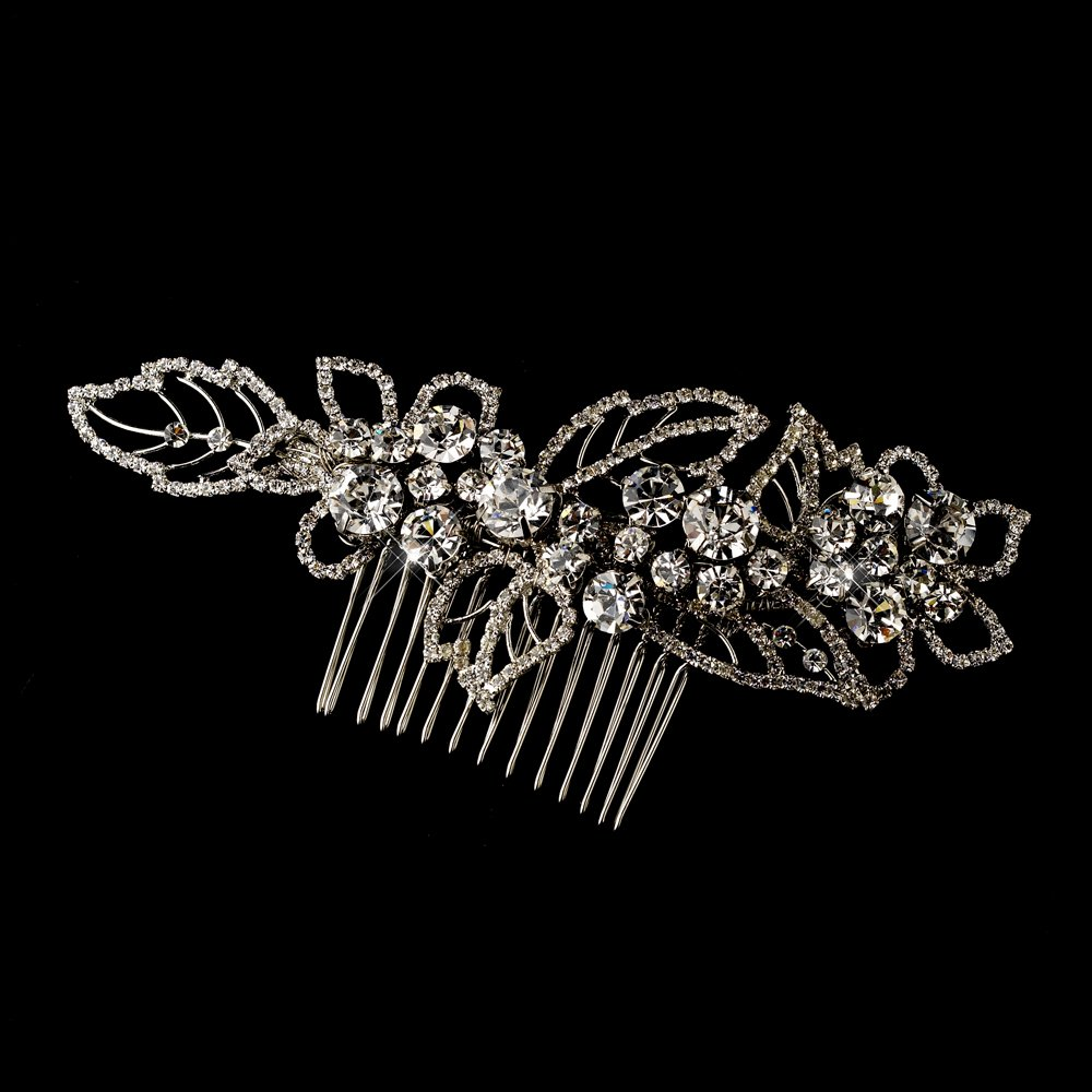 Classy Rhinestone Antique Silver Wedding Bridal Comb